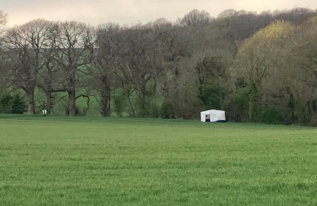 Several fields in the area have been sealed off, with one officer saying it was a 'very big crime scene'. (SWNS)