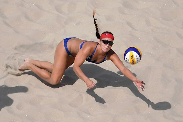 <p>Kerri Walsh Jennings may be the best American beach volleyball player, but Brook Sweat has the most appropriate name for the sport. Sweat perspired quite a bit in Rio, but never made it to the elimination round. (Getty) </p>