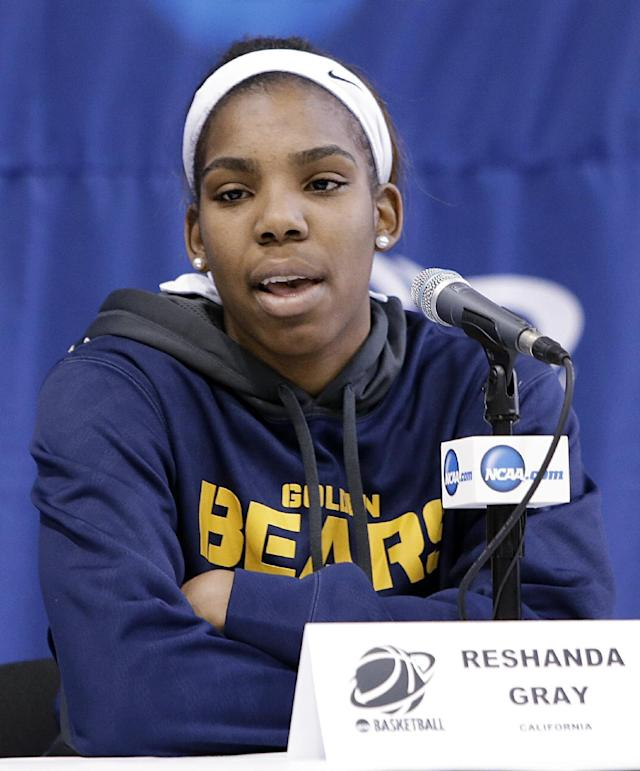 California's Reshanda Gray responds to a question during an NCAA college basketball tournament news conference, Sunday, March 23, 2014, in Waco, Texas. California is scheduled to play Baylor on Monday. (AP Photo/Tony Gutierrez)