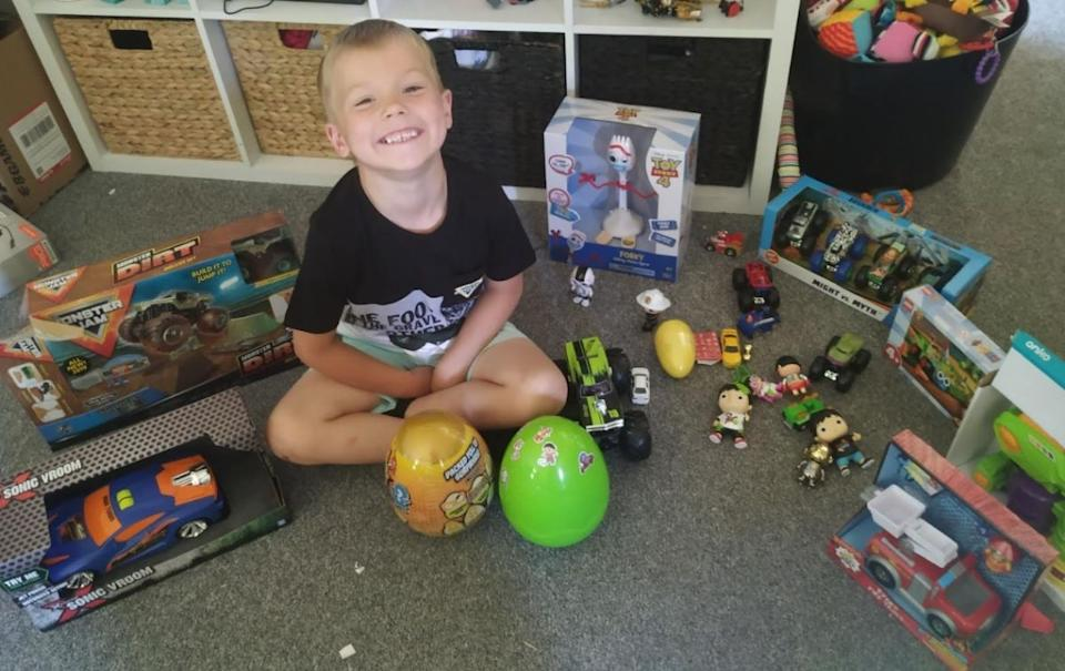 Flybuys winner's son with toys she's bought him. Source: Supplied/ Haylee Mackenzie