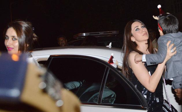 Kareena and Karisma step out of the car