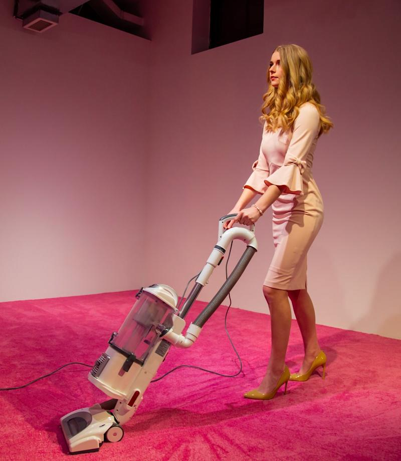 "An Ivanka Trump look-alike featured in ""Ivanka Vacuuming,"" a participatory performance by Jennifer Rubell at Flashpoint Gallery in Washington, D.C."