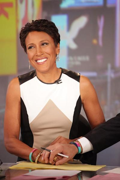 """This image released by ABC shows """"Good Morning America"""" co-host Robin Roberts on the popular morning show on Thursday, Aug. 30, 2012 in New York. Roberts has said goodbye to """"Good Morning America,"""" but only for a while. The """"GMA"""" anchor made her final appearance Thursday before going on medical leave for a bone marrow transplant. Roberts' departure was first planned for Friday, but she chose to exit a day early to visit her ailing mother in Mississippi. In July she first disclosed that she has MDS, a blood and bone marrow disease. She will be hospitalized next week to prepare for the transplant. The donor will be her older sister, Sally-Ann Roberts. (AP Photo/ABC, Fred Lee)"""