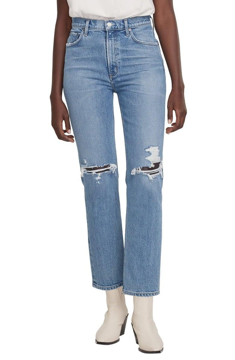 <p>The high waist silhouette on this <span>AGOLDE Wilder Ripped Straight Leg Jeans</span> ($198) is so flattering.</p>