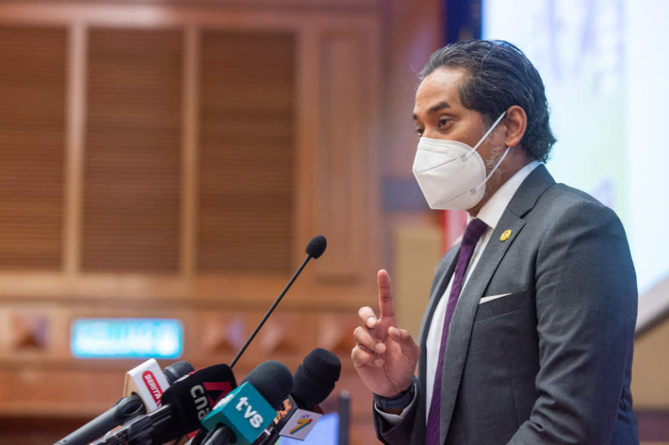 Health Minister Khairy Jamaluddin said the states involved in the operation are Johor, Kelantan, Kedah, Pahang, Perak, Penang, and Sabah, where an additional supply of vaccines, medical equipment and assets, and healthcare officers will be directed to these areas. — Picture by Shafwan Zaidon