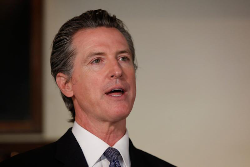 Gov. Gavin Newsom announces new criteria related to coronavirus hospitalizations and testing that could allow counties to open faster than the state, during a news conference at Mustards Grill in Napa, Calif., Monday May 18, 2020. Newsom says the new criteria could apply to 53 of the state's 58 counties. (AP Photo/Rich Pedroncelli, Pool)