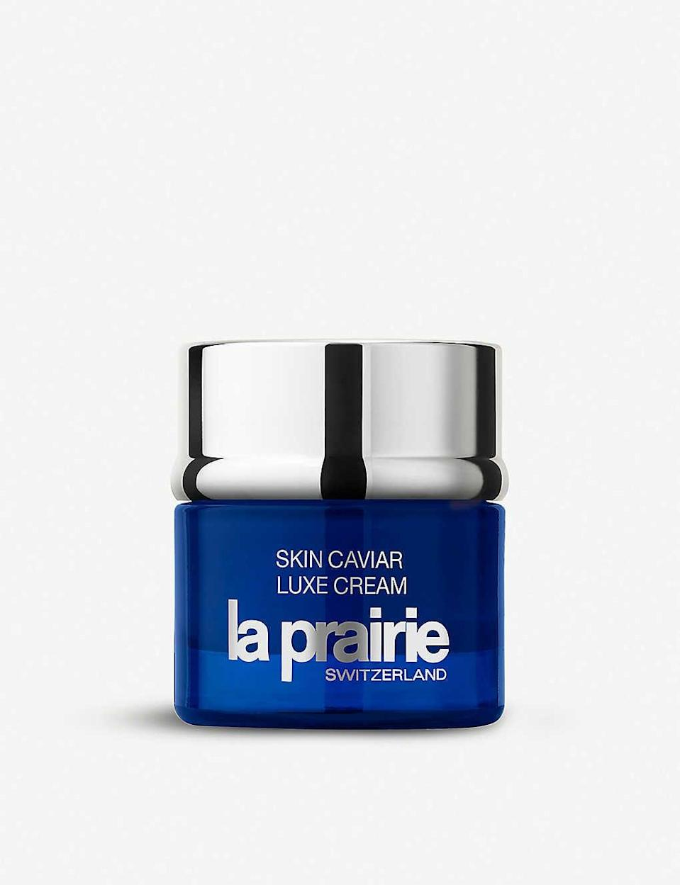 "<p>If you've got (a lot) of extra spending money, London-based makeup artist Georgina Graham recommends the <span>La Prairie Skin Caviar Luxe Cream</span> ($510). ""I am currently using Skin Caviar Luxe Cream. It's my superindulgent, rich product that works on the skin on a cellular level. It smells divine and really makes my skin look and feel great."" </p>"