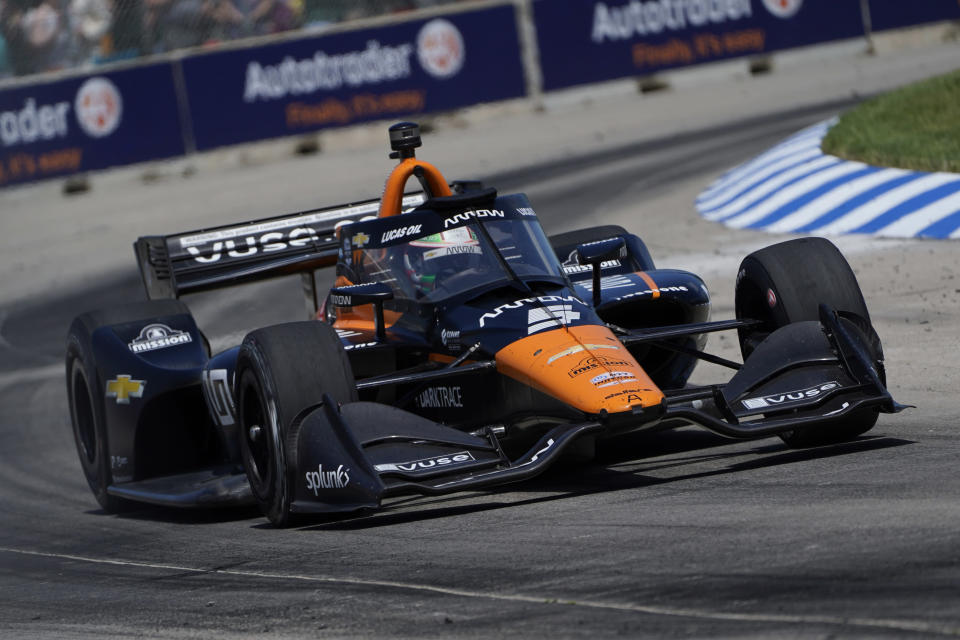 Pato O'Ward competes in the second race of the IndyCar Detroit Grand Prix auto racing doubleheader on Belle Isle in Detroit, Sunday, June 13, 2021. O'Ward won the race. (AP Photo/Paul Sancya)