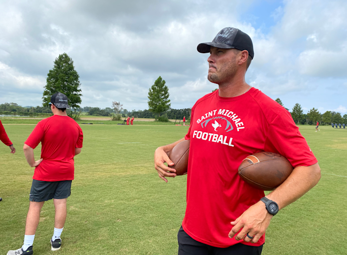 Retired Chargers and Colts quarterback Philip Rivers now coaches high school football in Fairhope, Ala.