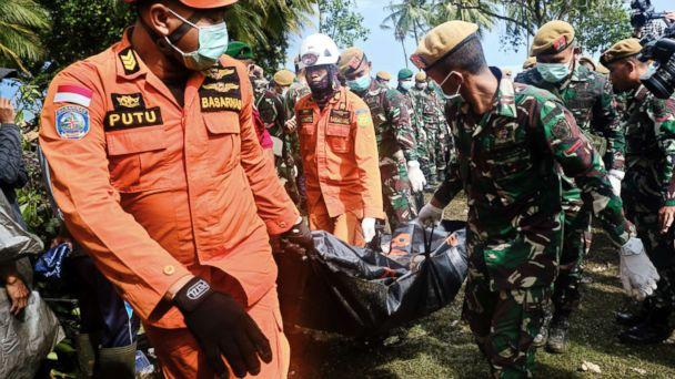 PHOTO: Rescue workers recover the body of a victim of the tsunami during a search at a resort hotel on in Tanjung Lesung, Indonesia, Dec. 24, 2018. (Ed Wray/Getty Images)