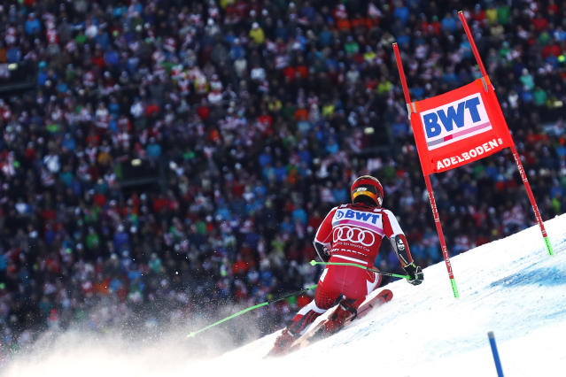 Austria's Marcel Hirscher competes during the second run of a ski World Cup men's Giant Slalom in Adelboden, Switzerland, Saturday, Jan. 12, 2019. (AP Photo/Gabriele Facciotti)