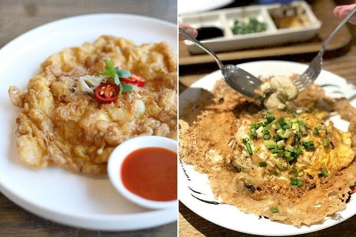 Thai omelettes can be stuffed in the form of 'khai yat sai' (left) or mixed with oysters as 'hoy tod' (right).