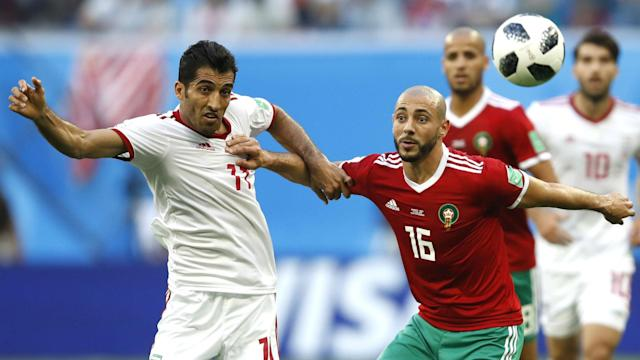 Amrabat was withdrawn after a 72nd minute clash of heads with Iran's Vahid Amiri in St Petersburg on Friday