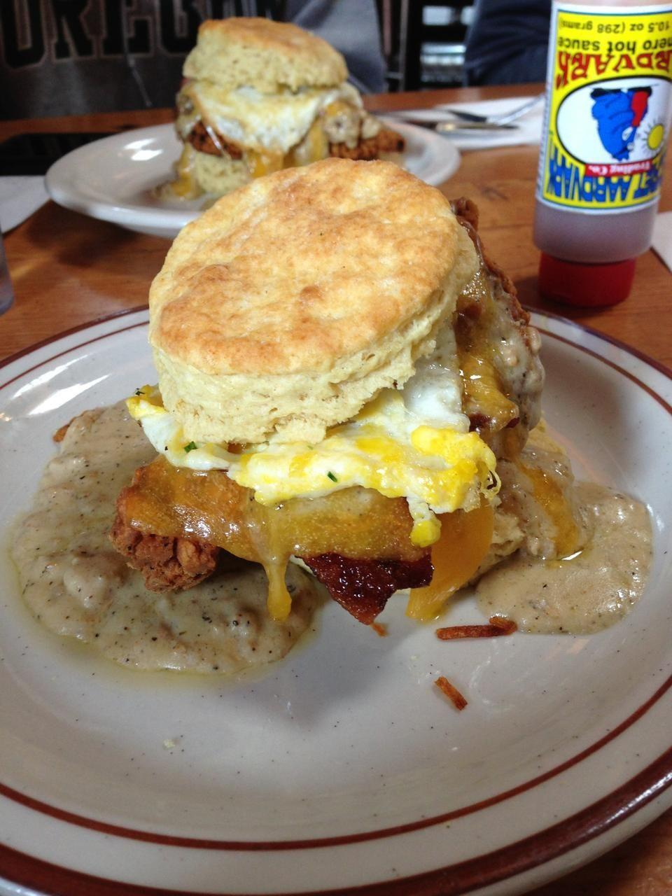 """<p><a href=""""https://www.tripadvisor.com/Restaurant_Review-g52024-d1017614-Reviews-Pine_State_Biscuits-Portland_Oregon.html"""" rel=""""nofollow noopener"""" target=""""_blank"""" data-ylk=""""slk:Pine State Biscuits"""" class=""""link rapid-noclick-resp"""">Pine State Biscuits</a>, Portland</p><p>The <span class=""""entity tip_taste_match"""">Reggie deluxe</span> was FANTASTIC. The <span class=""""entity tip_taste_match"""">chicken</span> was extremely <span class=""""entity tip_taste_match"""">crispy</span> yet moist and <span class=""""entity tip_taste_match"""">gravy</span> was so flavorful and delicious. The <span class=""""entity tip_taste_match"""">egg</span> is the much needed <span class=""""entity tip_taste_match"""">cherry</span> on top.<span class=""""redactor-invisible-space""""> - Foursquare user <a href=""""https://foursquare.com/user/22906019"""" rel=""""nofollow noopener"""" target=""""_blank"""" data-ylk=""""slk:Allison Yu"""" class=""""link rapid-noclick-resp"""">Allison Yu</a></span><br></p>"""