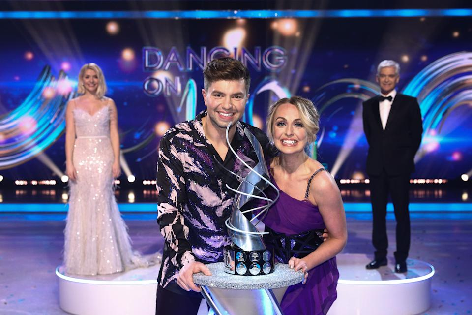 Editorial use only Mandatory Credit: Photo by Matt Frost/ITV/Shutterstock (11795927gy) Sonny Jay and Angela Egan celebrate being crowned Dancing on Ice champions 2021 by Holly Willoughby and Phillip Schofield 'Dancing On Ice' TV show, Series 13, Episode 8, Final, Hertfordshire, UK - 14 Mar 2021