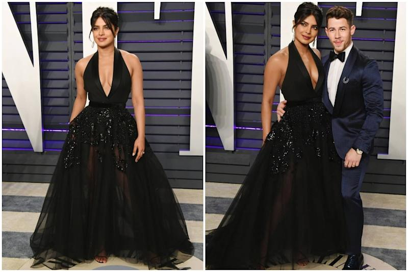 Priyanka Chopra Looks Bewitching in Black Sheer Gown at Oscars After Party