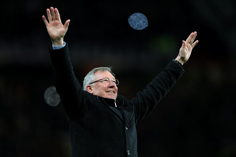 Sir Alex Ferguson celebrates in April 2013 after a Robin Van Persie hat-trick earned a 3-0 win over Aston Villa to secure his 13th and final title as Manchester United manager. Ferguson, then aged 71, retired at the end of the 2012-13 season having won 38 trophies during his 26 years at the club