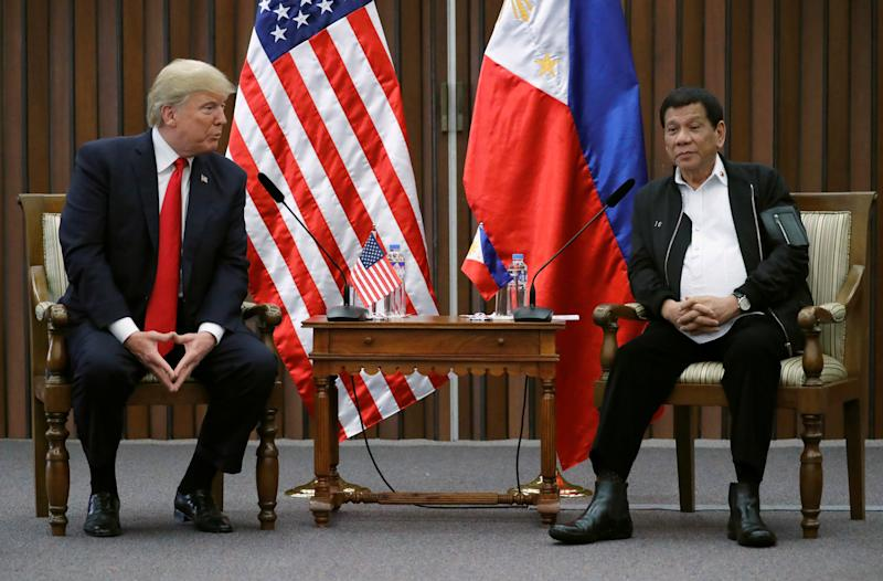 U.S. President Donald Trump holds a bilateral meeting with Rodrigo Duterte, the president of the Philippines, on Monday.  (Jonathan Ernst / Reuters)