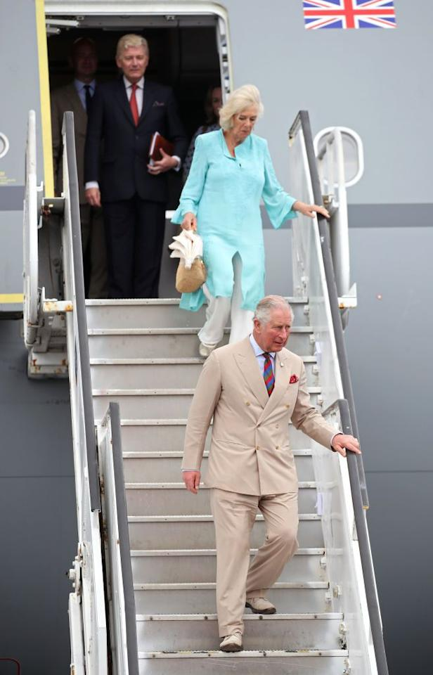 <p>Charles and Camilla arrive in St. Kitts and Nevis.</p>