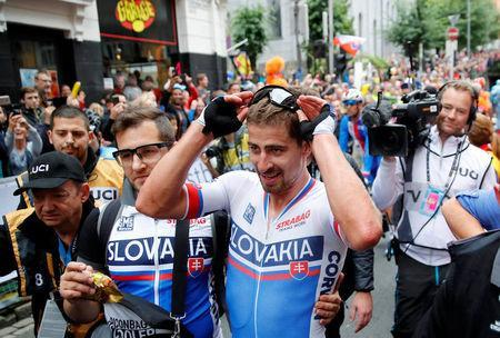 Peter Sagan of Slovakia is seen in the finish area after winning Men Elite Road Race at the UCI 2017 Road World Championship, in Bergen, Norway. NTB SCANPIX/Cornelius Poppe via REUTERS