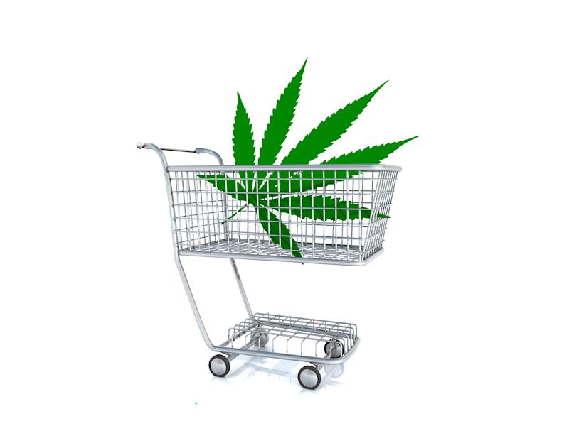 Giant marijuana leaf in a shopping cart
