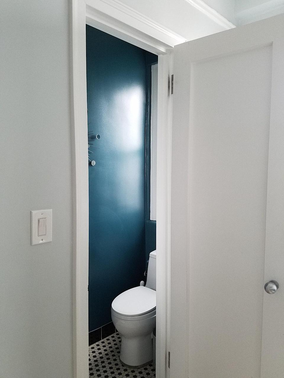 """BEFORE: """"We moved the bathroom because it was occupying a window that we wanted to incorporate into a guest bedroom,"""" Frederick confesses. """"We lost natural light in the bathroom but we gained a guest room space."""" The team then decided to create a dark, moody atmosphere."""