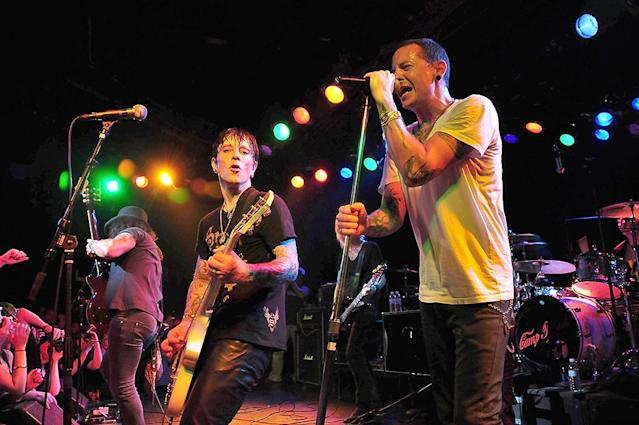 <p>Guitarist Billy Morrison of Camp Freddy and singer Chester Bennington of Linkin Park perform with all-star cover band Camp Freddy at the Roxy nightclub on May 8, 2008 in Los Angeles, California. (Photo by Michael Tullberg/Getty Images) </p>