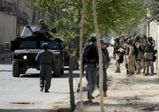Afghan Interior Ministry special forces stand guard in Kabul