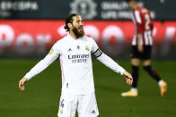 Real Madrid's Sergio Ramos gestures during the Spanish Super Cup semi final soccer match between Real Madrid and Athletic Bilbao at La Rosaleda stadium in Malaga, Spain, Thursday, Jan. 14, 2021. Athletic Bilbao won 2-1 and will play the final. (AP Photo/Jose Breton)