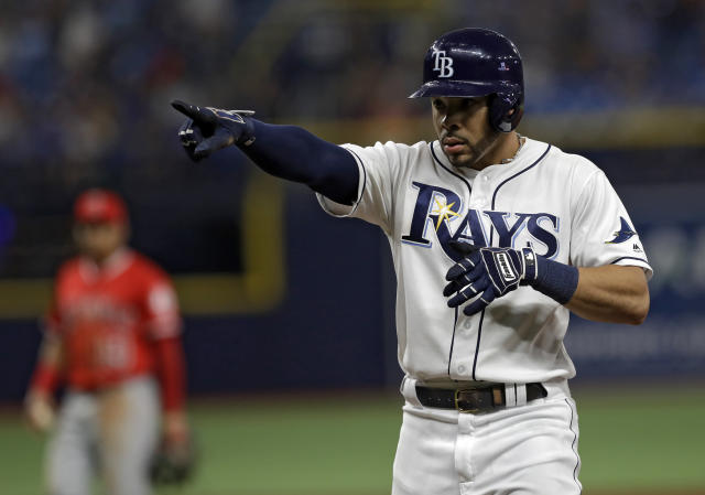 Tampa Bay Rays' Tommy Pham reacts after his RBI single off Los Angeles Angels pitcher Ty Buttrey scored Travis d'Arnaud during the sixth inning of a baseball game Friday, June 14, 2019, in St. Petersburg, Fla. (AP Photo/Chris O'Meara)