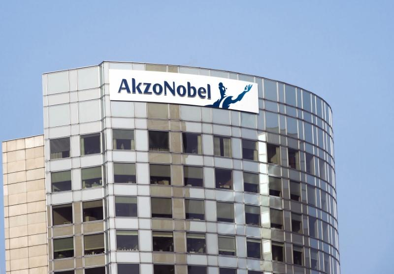The sign of AkzoNobel is pictured at its headquarters in Amsterdam