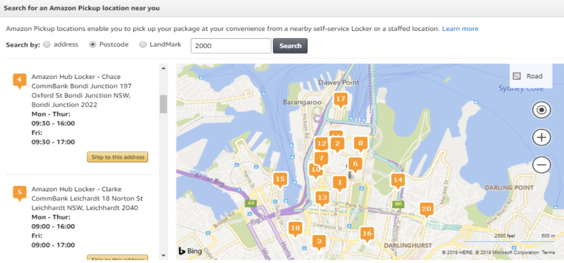 An image of an online map showing Amazon pick-up locations in Sydney.