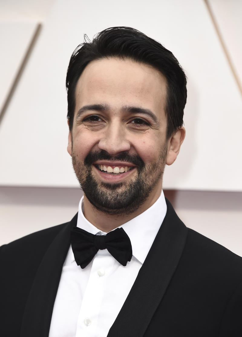 Lin-Manuel Miranda arrives at the Oscars on Sunday, Feb. 9, 2020, at the Dolby Theatre in Los Angeles. (Photo by Jordan Strauss/Invision/AP)