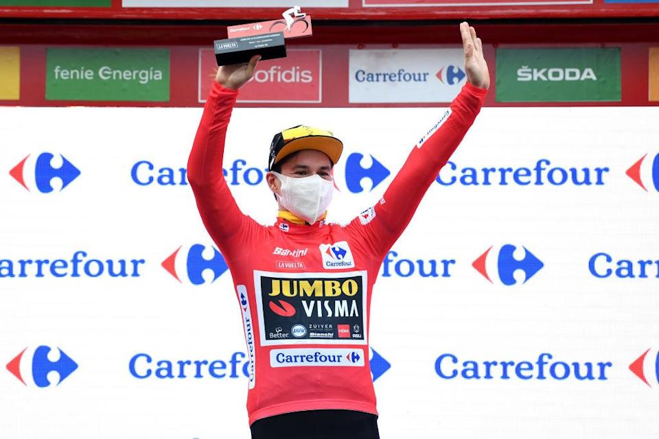 Jumbo-Visma's Primoz Roglic ended the opening day to the 2020 Vuelta a Espana where he left off after the 2019 race: in red as the overall leader of the Spanish Grand Tour