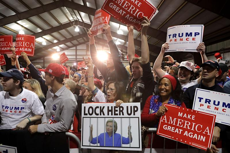 Supporters cheer for Republican presidential nominee Donald Trump during a campaign rally at the Loudoun County Fairgrounds in the early morning hours on November 7, 2016 in Leesburg, Virginia. (Photo: Chip Somodevilla/Getty Images)