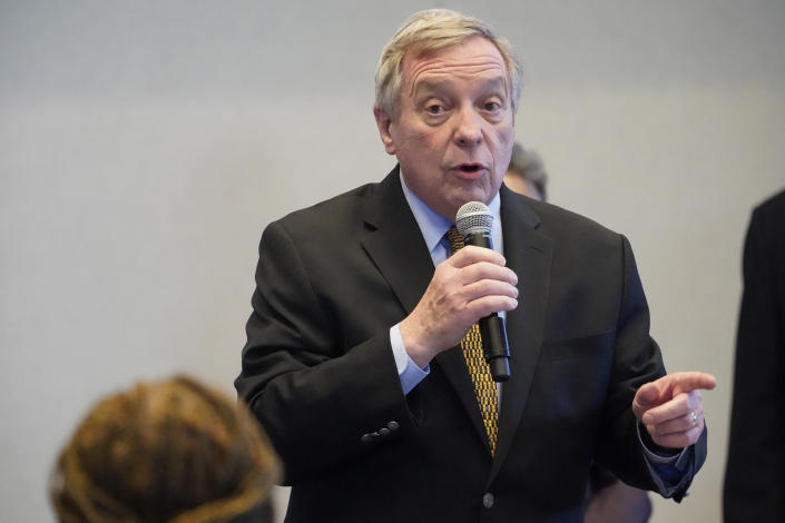 Sen. Dick Durbin, D-Ill., during a visit with Vice President Kamala Harris to a COVID-19 vaccination site Tuesday, April 6, 2021, in Chicago. The site is a partnership between the City of Chicago and the Chicago Federation of Labor. (AP Photo/Jacquelyn Martin)