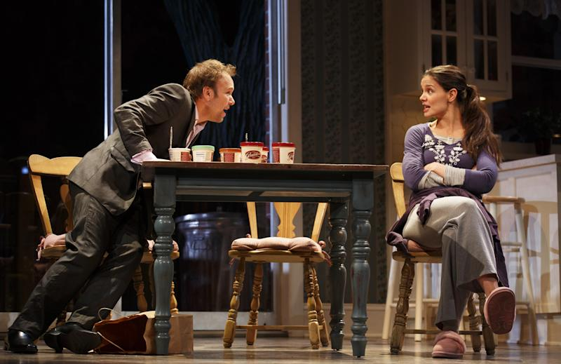 "This undated publicity photo provided by Boneau/Bryan-Brown shows Nobert Leo Butz as Jack, left, and Katie Holmes as Lorna, in a scene from ""Dead Accounts,"" by Theresa Rebeck, at Broadway's Music Box theatre in New York. (AP Photo/Boneau/Bryan-Brown, Joan Marcus)"