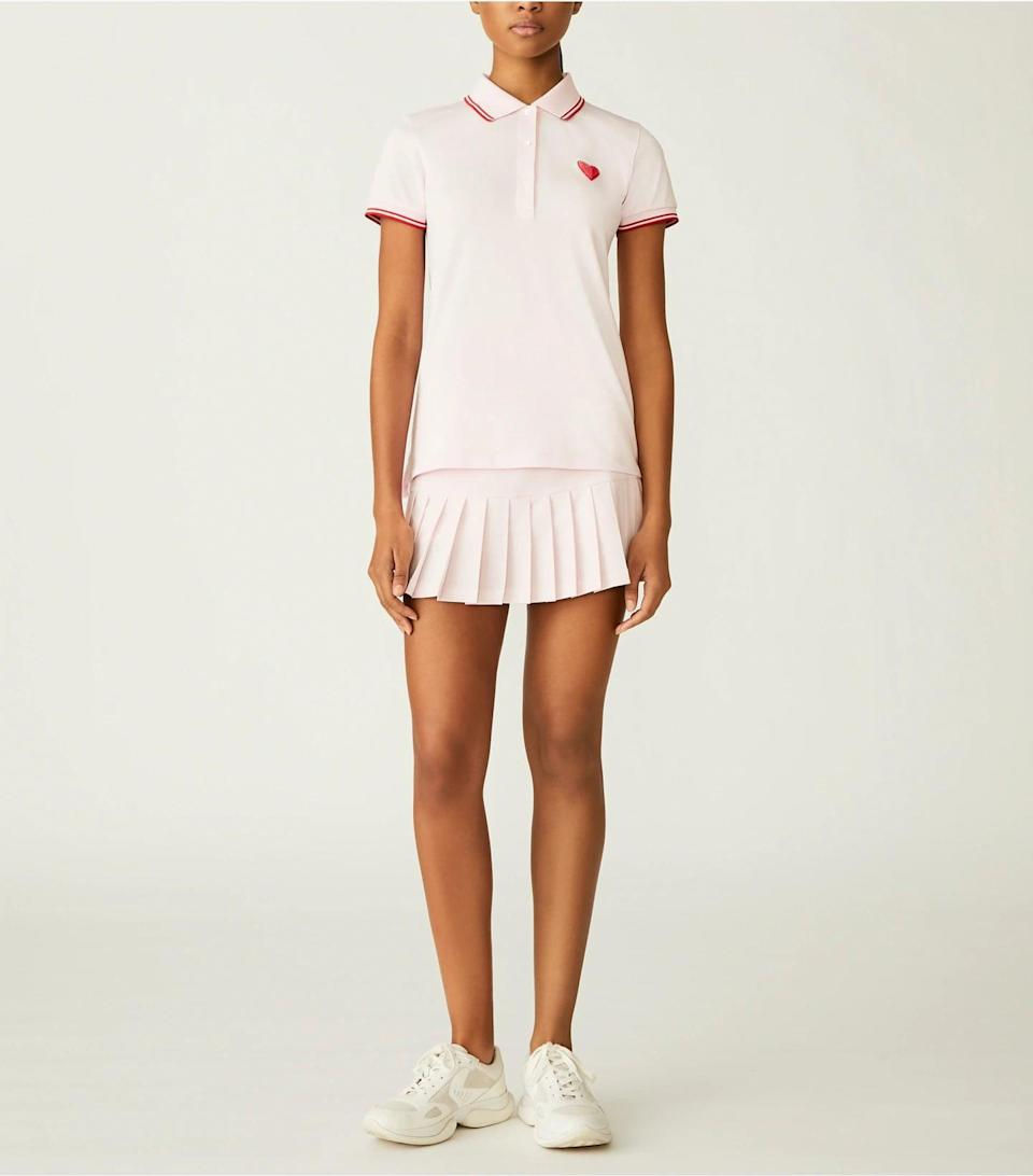 <p>We're in love with this <span>Tory Sport Performance Piqué Heart Polo</span> ($138) and matching <span>Pleated Hem Tennis Skirt</span> ($128).</p>