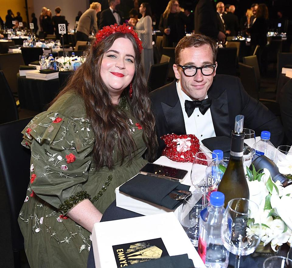 <p><em>Shrill</em> star Aidy Bryant and husband Conner O'Malley flashed soft smiles from their seats at the 73rd Primetime Emmy Awards.</p>