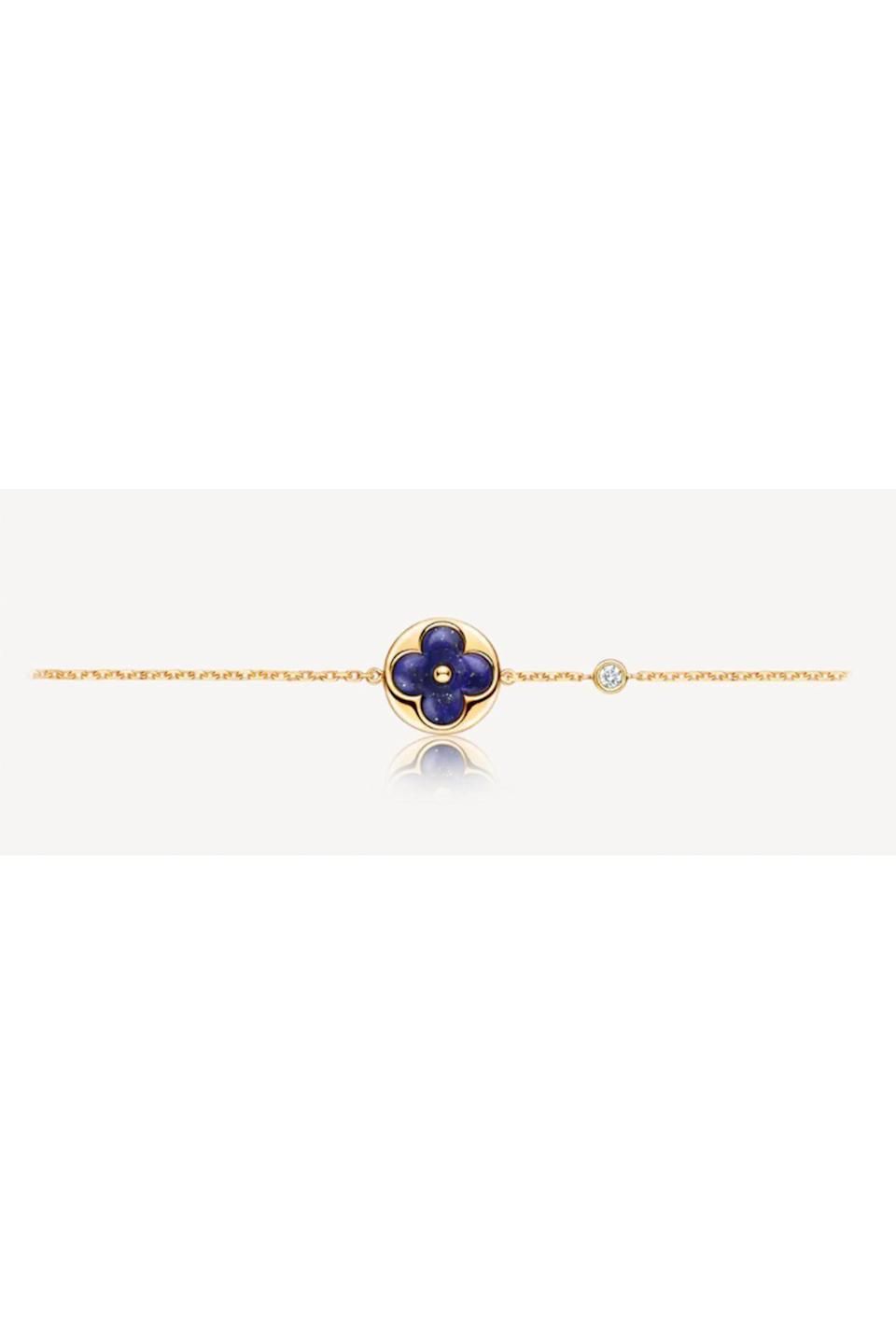 """<p><strong>Louis Vuitton</strong></p><p>us.louisvuitton.com</p><p><strong>$3300.00</strong></p><p><a href=""""https://us.louisvuitton.com/eng-us/products/color-blossom-bb-sun-bracelet-yellow-gold-lapis-lazuli-and-diamond-nvprod280009v"""" rel=""""nofollow noopener"""" target=""""_blank"""" data-ylk=""""slk:Shop Now"""" class=""""link rapid-noclick-resp"""">Shop Now</a></p><p>This Louis Vuitton blossom bracelet is guaranteed to make you smile every time you catch a glimpse of it.</p>"""