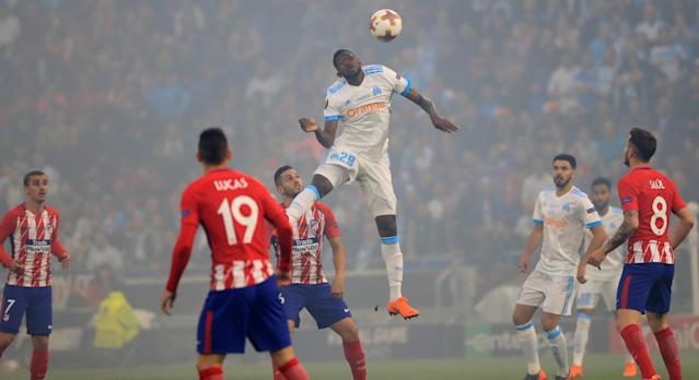 Soccer Football - Europa League Final - Olympique de Marseille vs Atletico Madrid - Groupama Stadium, Lyon, France - May 16, 2018 Marseille's Andre-Frank Zambo Anguissa in action with Atletico Madrid's Koke REUTERS/Gonzalo Fuentes