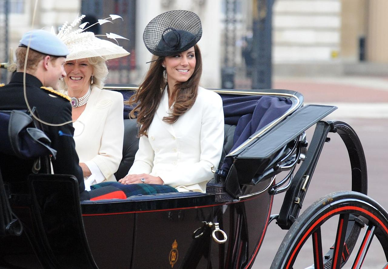 <p>This was Kate Middleton's very first time posing alongside the royal family for the event. It came just two months after her and Prince William's April 2011 royal wedding. During the carriage procession, Kate sat next to Camilla, the Duchess of Cornwall and Prince Harry.</p>