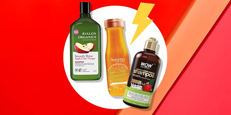 """<p>You've probably heard about some of the potential health advantages of <a href=""""https://www.womenshealthmag.com/health/a27654111/apple-cider-vinegar-for-sunburn-relief/"""" rel=""""nofollow noopener"""" target=""""_blank"""" data-ylk=""""slk:apple cider vinegar"""" class=""""link rapid-noclick-resp"""">apple cider vinegar</a>—maybe you even have a bottle in your refrigerator or pantry. But have you considered its beauty benefits, particularly when it comes to your hair and <a href=""""https://www.womenshealthmag.com/health/a19993791/itchy-scalp/"""" rel=""""nofollow noopener"""" target=""""_blank"""" data-ylk=""""slk:scalp"""" class=""""link rapid-noclick-resp"""">scalp</a>? Turns out this ingredient has a lot to offer in that department, particularly when used as a clarifying rinse or shampoo. </p><p>""""<a href=""""https://www.womenshealthmag.com/weight-loss/a35839798/apple-cider-vinegar-gummies/"""" rel=""""nofollow noopener"""" target=""""_blank"""" data-ylk=""""slk:Apple cider vinegar"""" class=""""link rapid-noclick-resp"""">Apple cider vinegar</a> helps rebalance the hair and scalp pH,"""" says celebrity hair stylist and salon owner Julien Farel, chairman and founder of the <a href=""""https://www.julienfarel.com/"""" rel=""""nofollow noopener"""" target=""""_blank"""" data-ylk=""""slk:Julien Farel Group"""" class=""""link rapid-noclick-resp"""">Julien Farel Group</a>. """"By lowering the pH of your scalp, it helps to strengthen your hair by closing the cuticles and the hair shaft. This makes your hair smoother and easier to detangle, shinier, less frizzy, less prone to breakage, and more moisturized.""""</p><p>In addition to just plain improving the manageability of your mane, <a href=""""https://www.womenshealthmag.com/weight-loss/a20631267/apple-cider-vinegar-pills-weight-loss/"""" rel=""""nofollow noopener"""" target=""""_blank"""" data-ylk=""""slk:apple cider vinegar"""" class=""""link rapid-noclick-resp"""">apple cider vinegar</a> also holds antifungal properties, which can be beneficial for those with <a href=""""https://www.womenshealthmag.com/beauty/g22131683/best-dandruff-shampoos/"""" rel=""""nofollow noopener"""