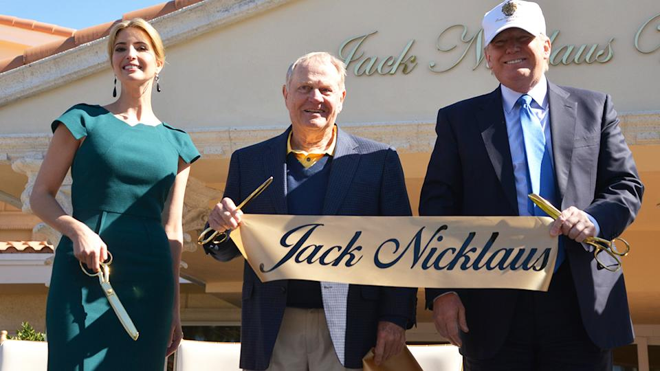 Ivanka Trump, Jack Nicklaus and Donald Trump, pictured here at the unveiling of the Jack Nicklaus Villa at Trump Doral.