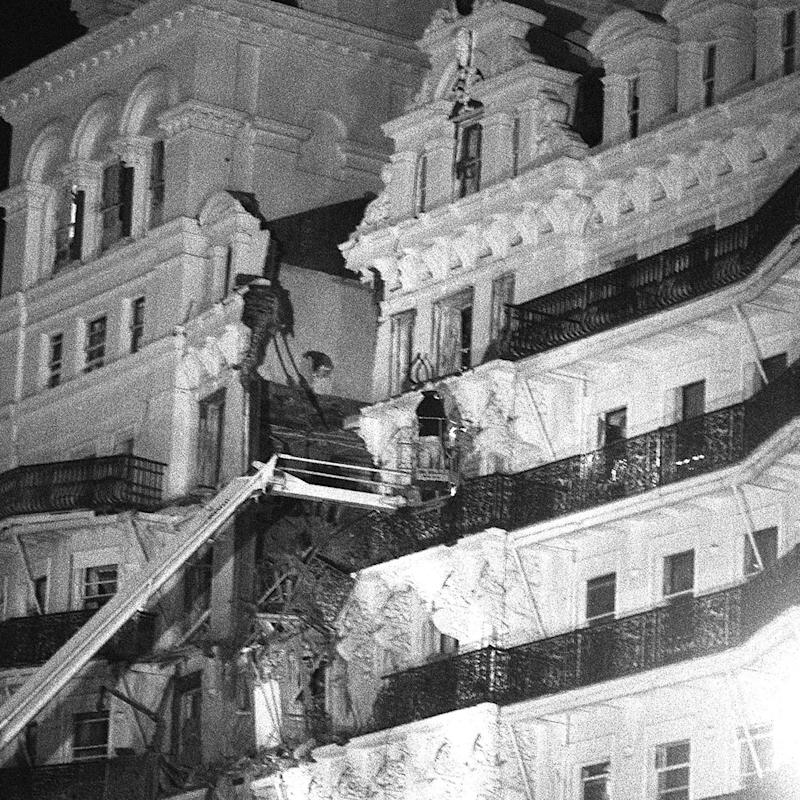 An IRA bomb exploded at the Grand Hotel, Brighton, in 1984 where members of the Cabinet were staying for the Conservative party conference. Five people were killed and prime minister Margaret Thatcher and her husband Denis narrowly escaped injury - Credit: PA