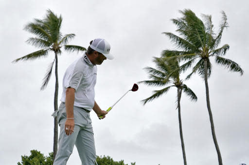 Ryan Palmer reacts to missing his birdie putt on the 13th green during the third round of the Sony Open PGA Tour golf event, Saturday, Jan. 11, 2020, at Waialae Country Club in Honolulu. (AP Photo/Matt York)