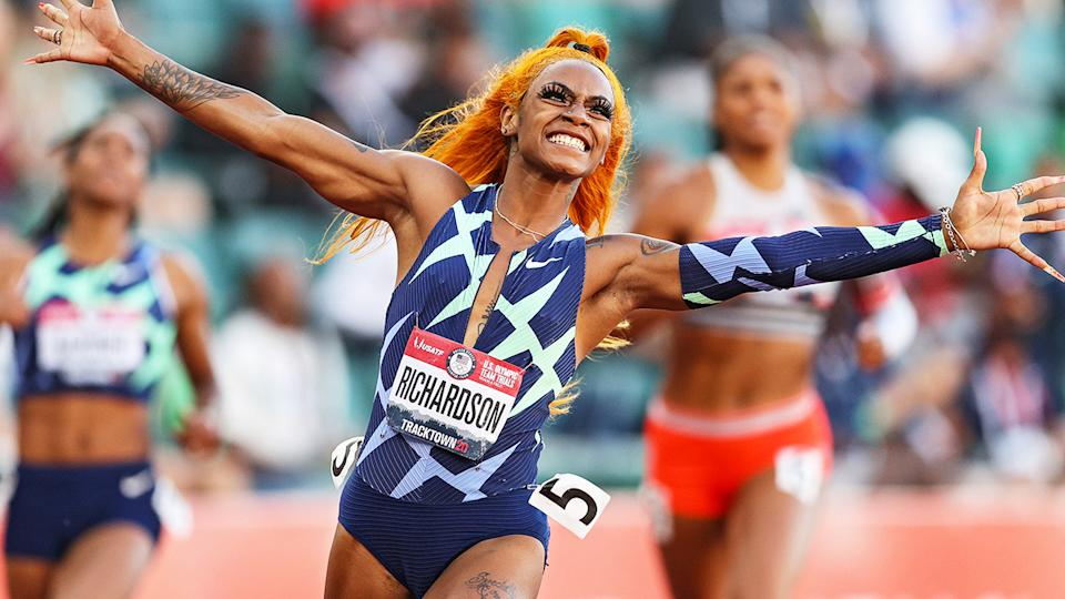 Sha'Carri Richardson, pictured here after winning the 100m at the US Olympic Track & Field trials.