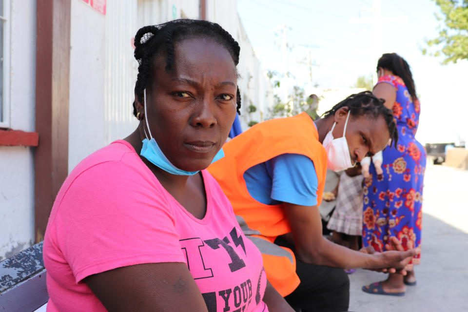 Violene Marseille, 36, from Haiti, poses for a portrait in Monterrey, Mexico, Thursday, Sept. 23, 2021, after traveling from Chile where she and her family have lived for years. Marseille, her husband and two children were on a bus north through central Mexico when they received messages warning that their destination on the U.S.-Mexico border was no longer a safe place to cross. (AP Photo/Marcos Martinez Chacon)
