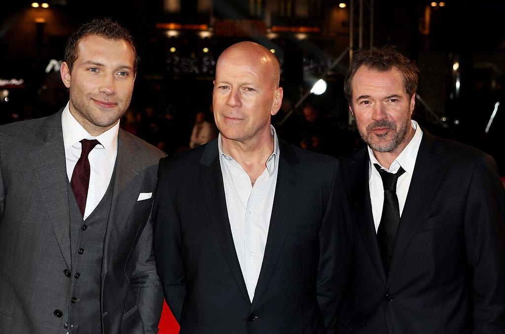 Jai Courtney, Bruce Willis and Sebastian Koch attend the UK Premiere of 'A Good Day To Die Hard' at Empire Leicester Square on February 7, 2013 in London, England.  (Photo by Dave M. Benett/WireImage)