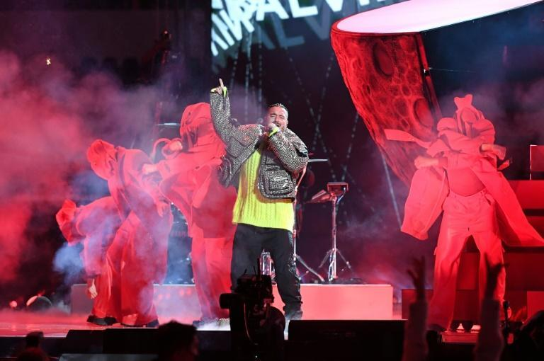 """Colombian singer J Balvin, shown here performing during the May 2021 taping of the """"Vax Live"""" fundraising concert in California, is the subject of a new documentary about his rise to fame"""